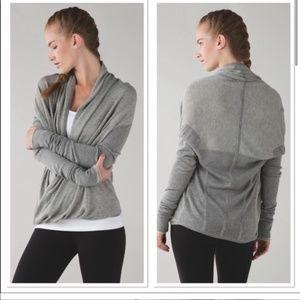 Lululemon Iconic Striped Sweater Wrap  Heathered Grey 6